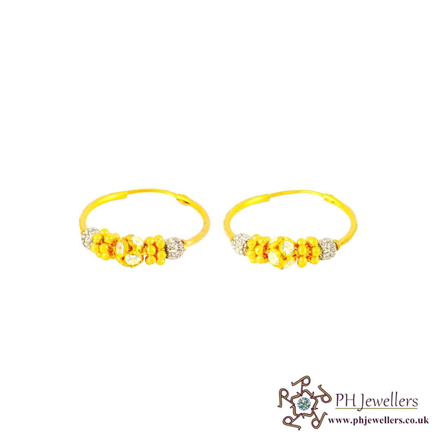 22 CT 916 Hallmark Yellow Gold Bali Earrings Rhodium CZ BE1