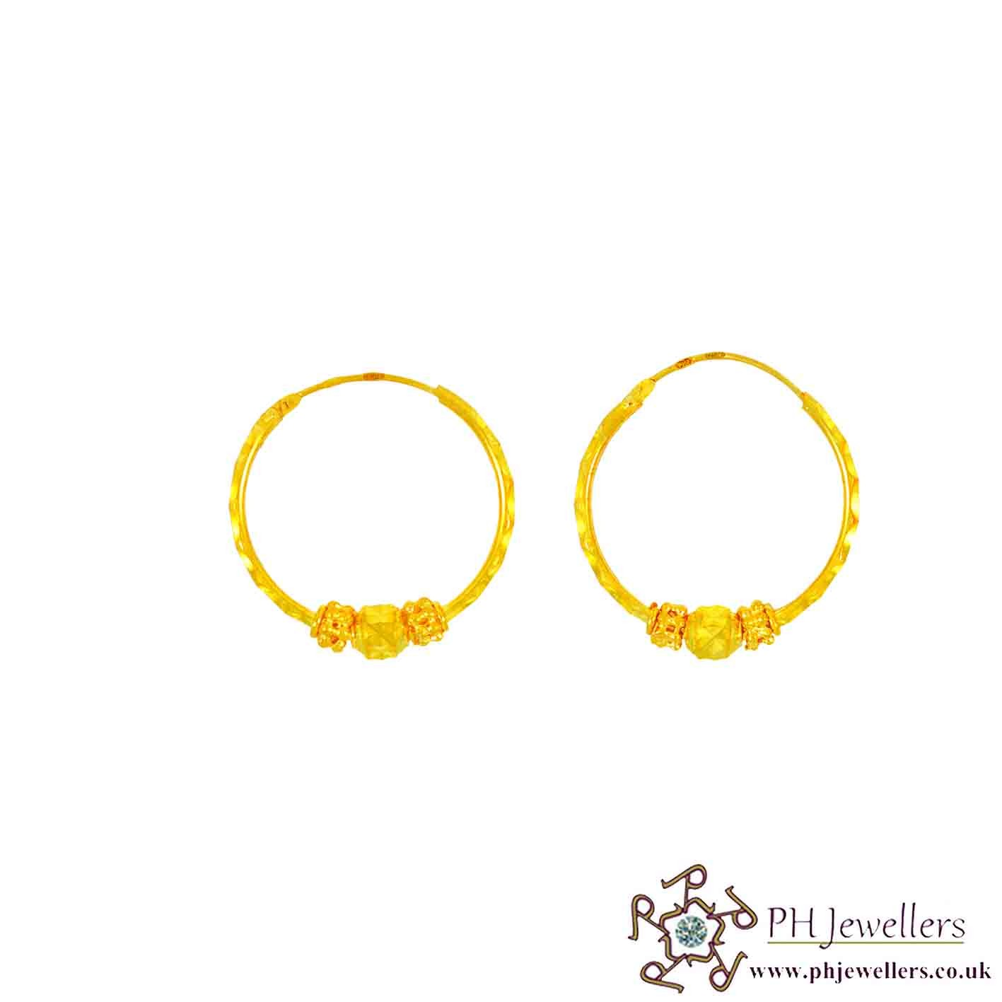22ct 916 Hallmark Yellow Gold Bali Earrings BE12