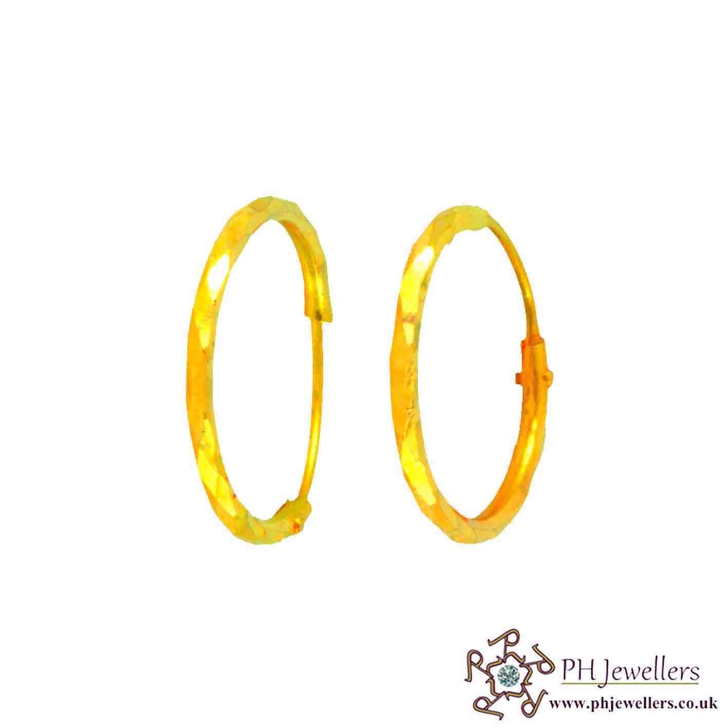 22 CT 916 Hallmark Yellow Gold Dangling Earrings CZ BE3