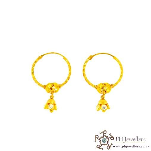 22CT 916 Hallmark Yellow Gold Bali Earrings CZ BE6