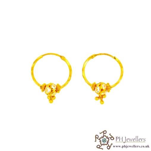 22CT 916 Hallmark Yellow Gold Bali Earrings CZ BE8