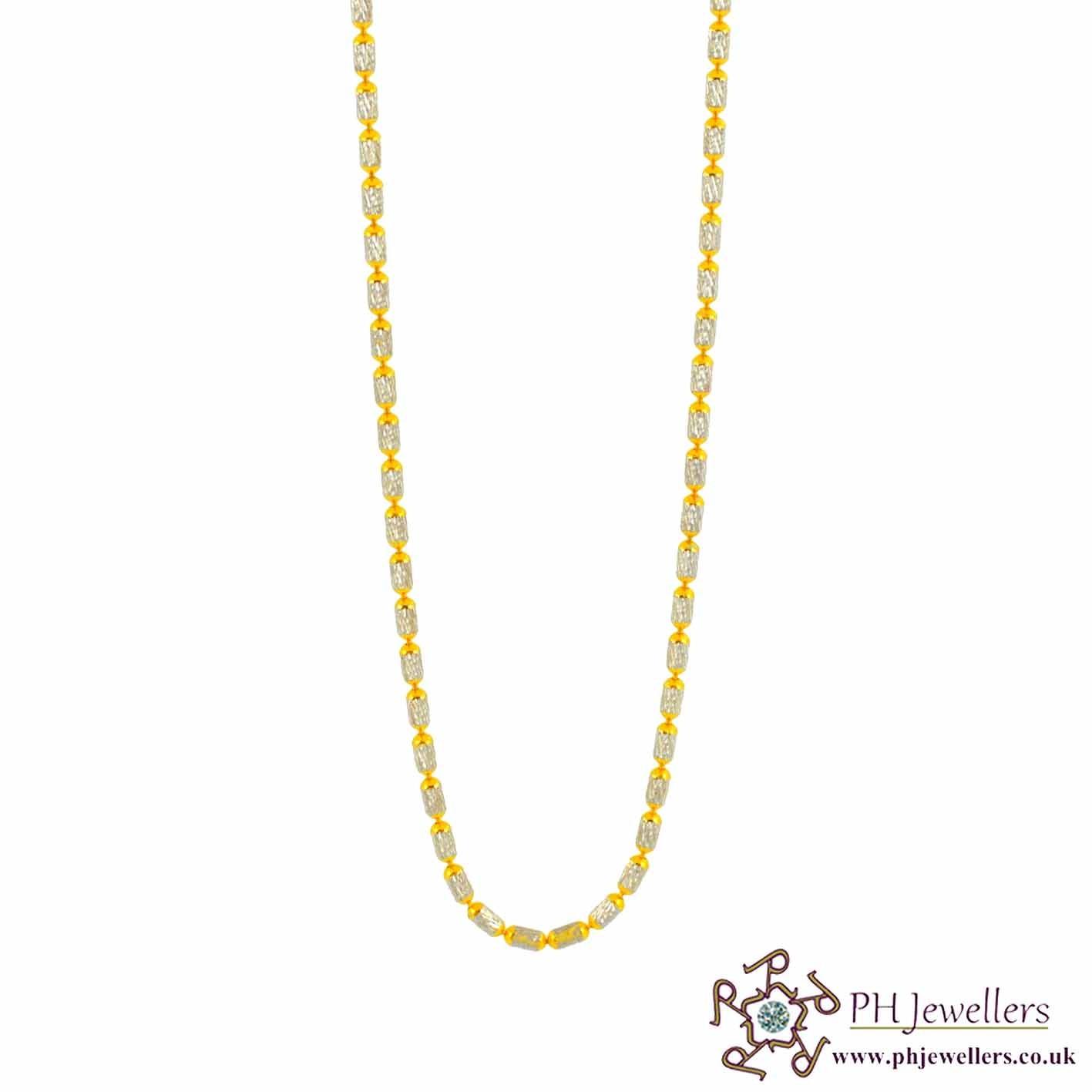 22CT 916 Hallmark Yellow Gold Bead Rhodium Chain RC26