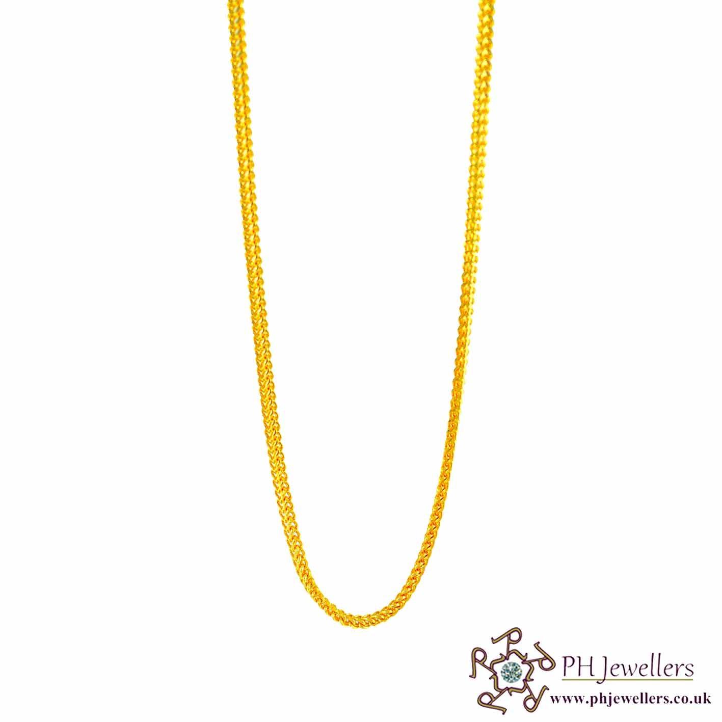 22ct 916 Hallmark Yellow Gold V Fox Chain PC13