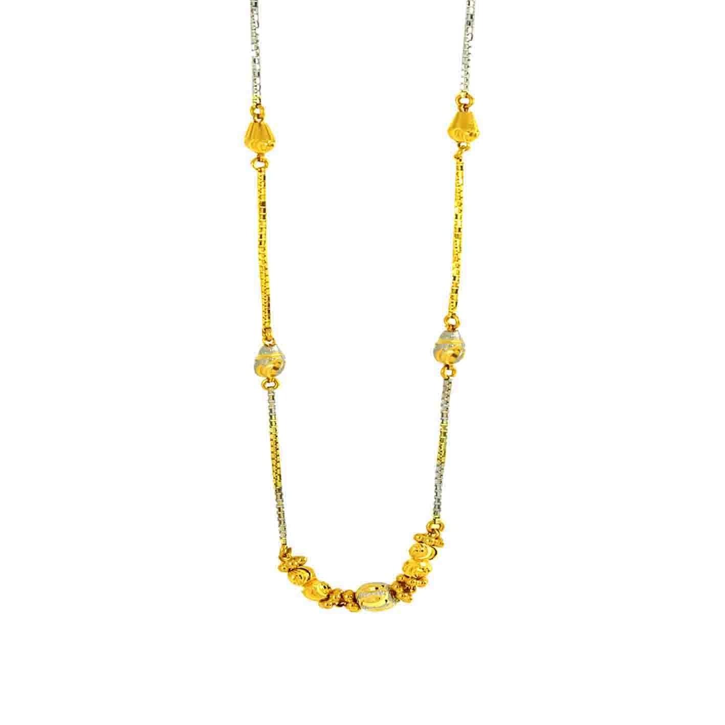"22ct 916 Hallmark Yellow Gold Choker Chain with Rhodium 16""  CC5"
