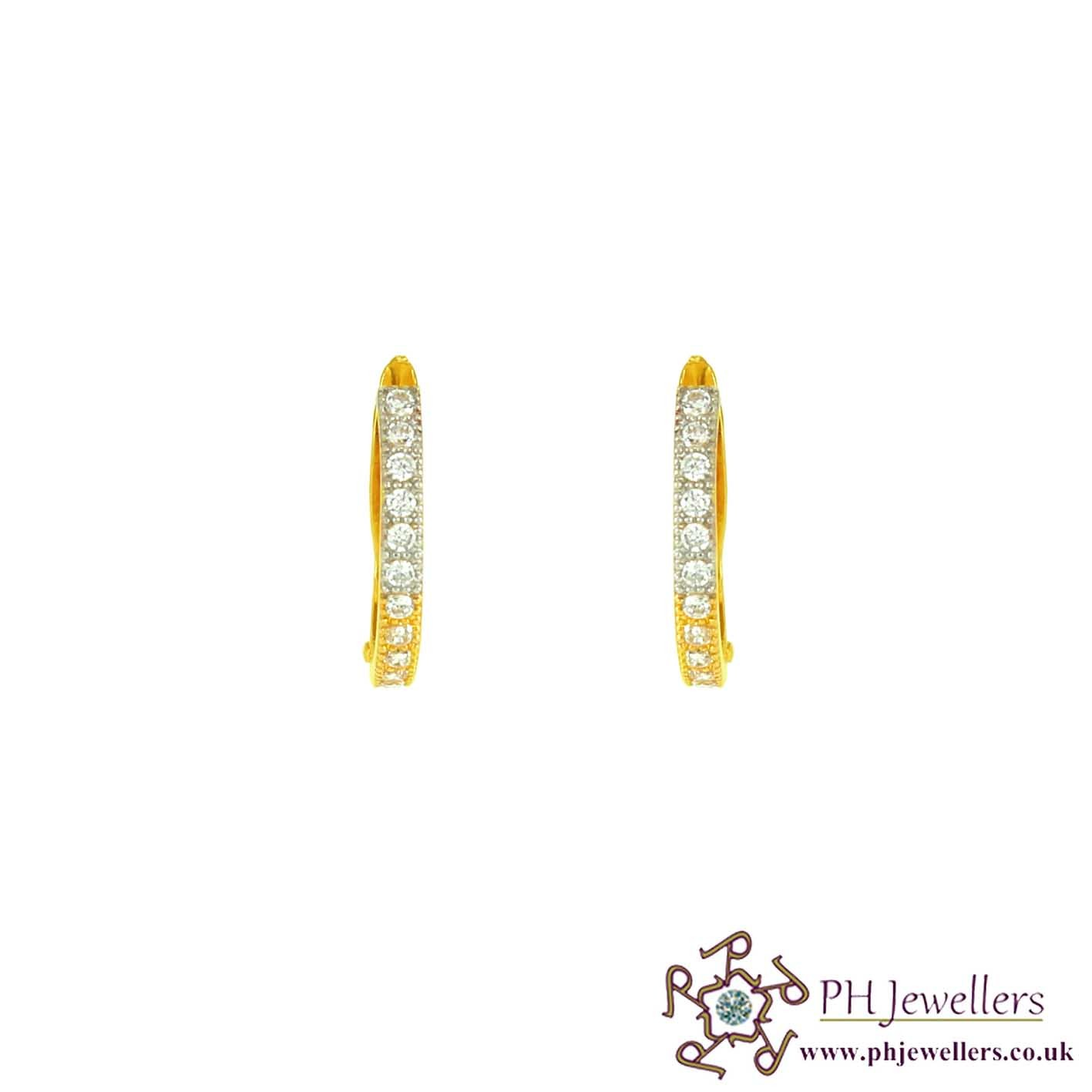 22ct 916 Yellow Gold Clipon Rhodium Earrings CZ CE1