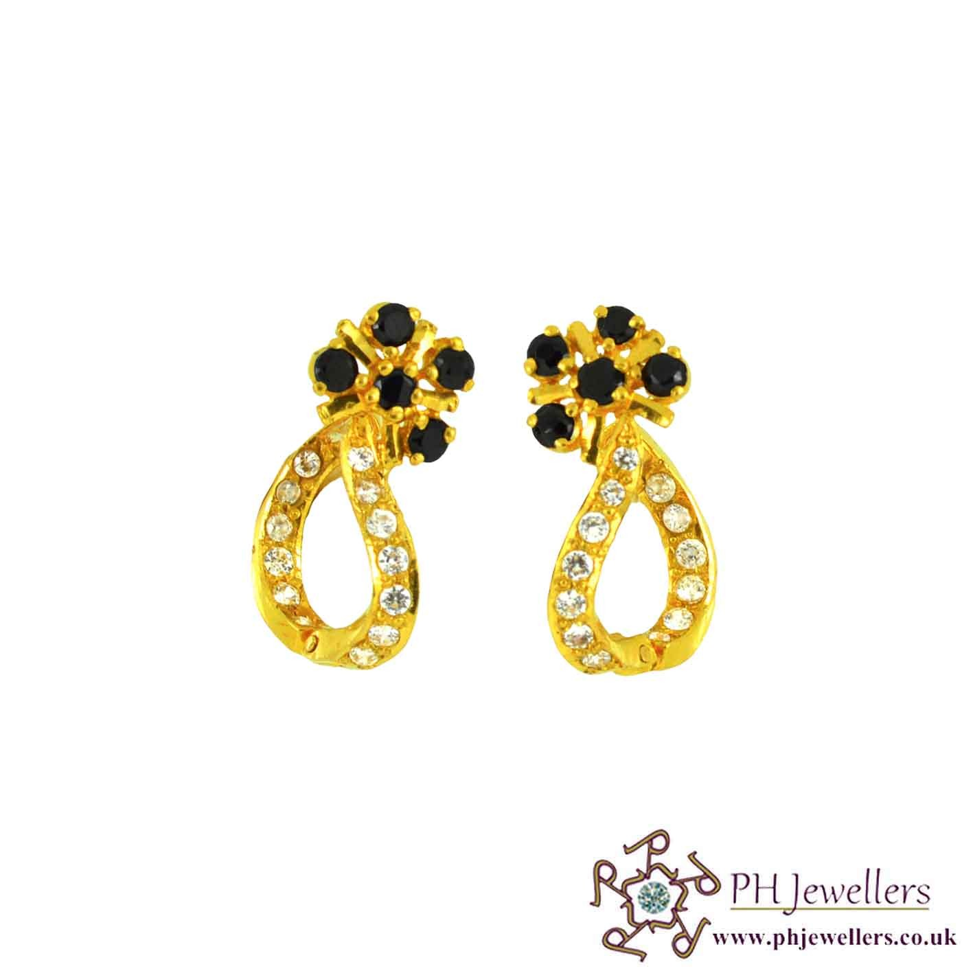 22ct 916 Hallmark Yellow Gold Clip On Black & White Earring CZ CE11