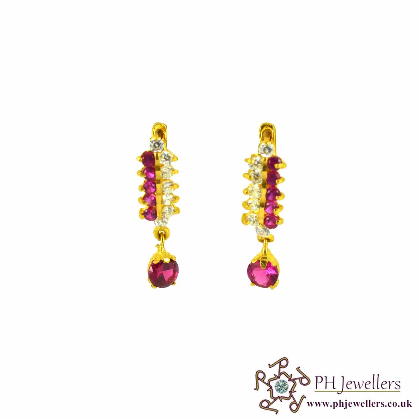 22ct 916 Hallmark Yellow Gold Clip On Ruby Red & White Earring CZ CE2