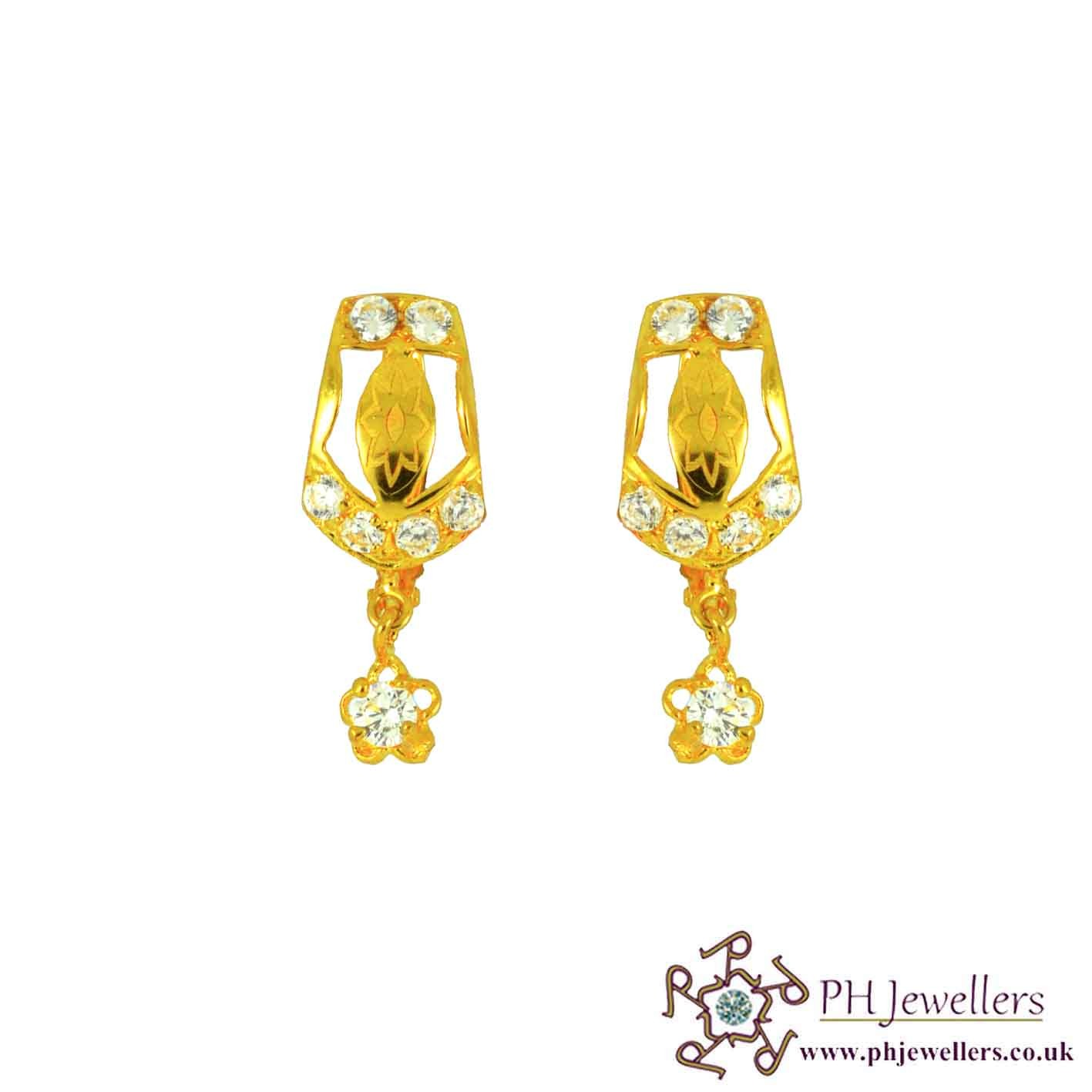 22ct 916 Yellow Gold Clip On Earring CZ CE22