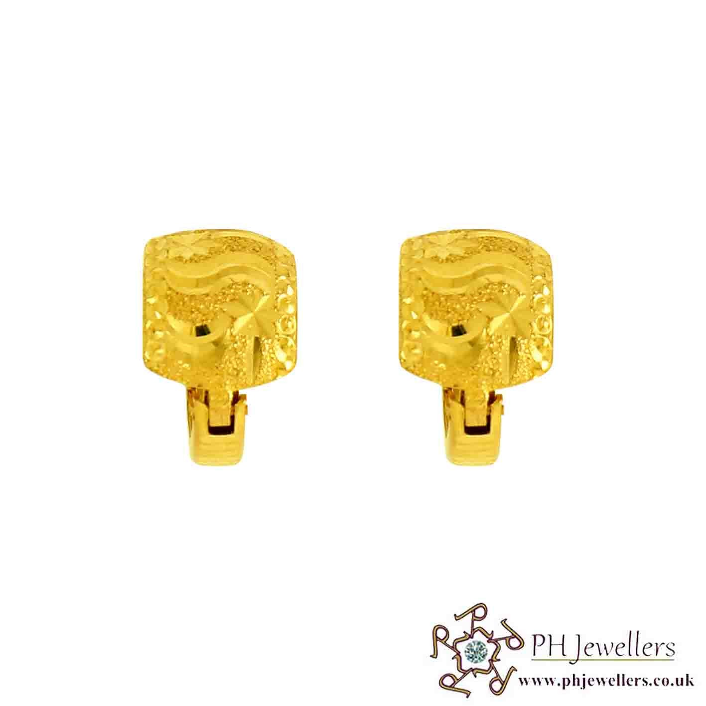 22ct 916 Hallmark Yellow Gold Wide Clip-On  Earring CE27