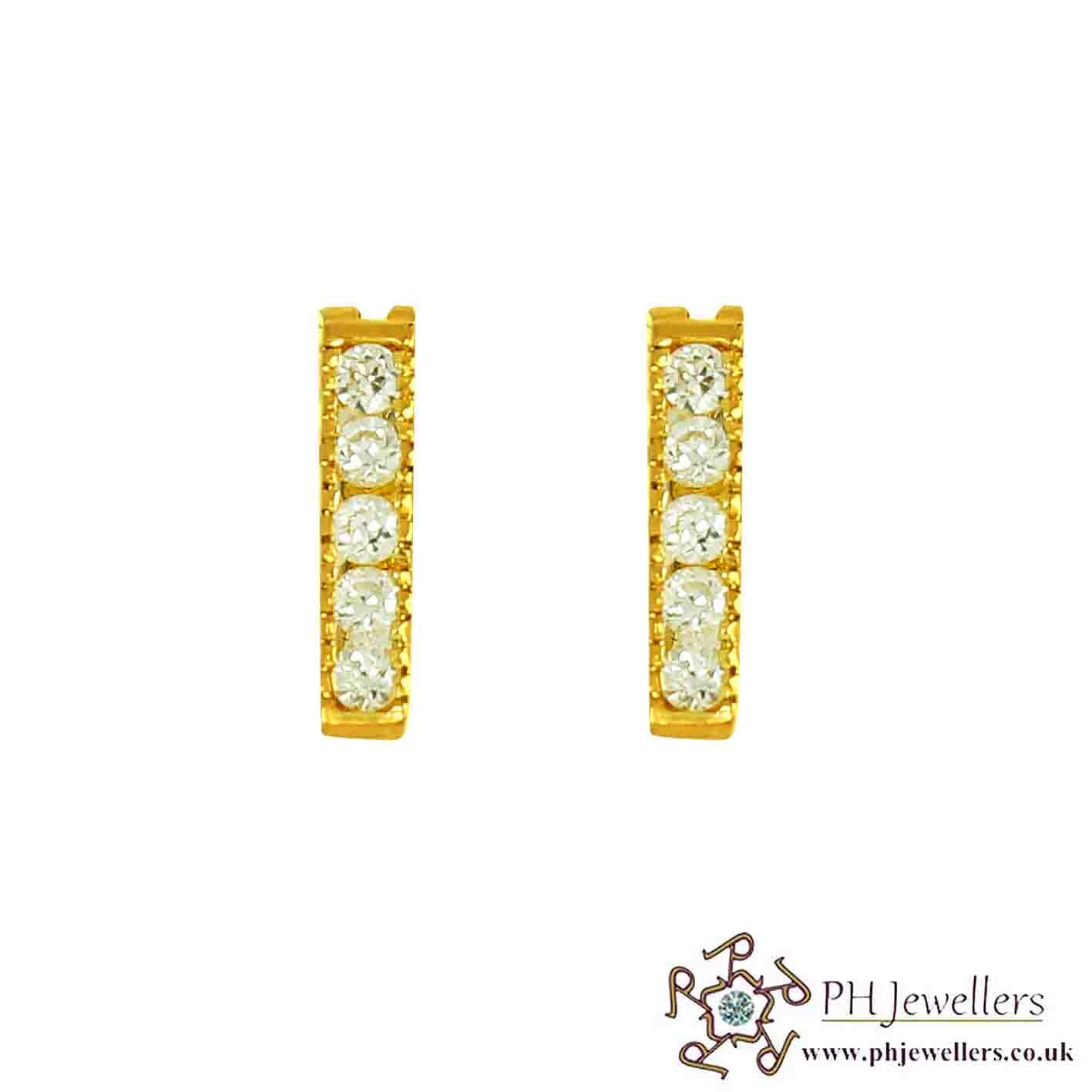 22ct 916 Hallmark Yellow Gold Clip-On  Earring CZ CE28
