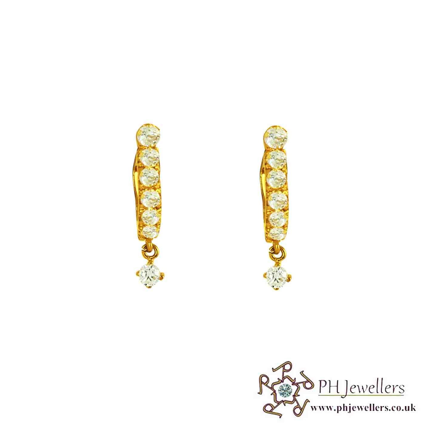 22ct 916 Hallmark Yellow Gold Clip On-Dangle Earring CZ CE29