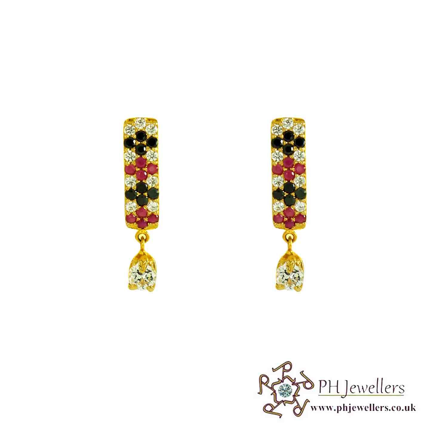 22ct 916 Hallmark Yellow Gold Clip On-Dangle Ruby/Black Earring CZ CE30
