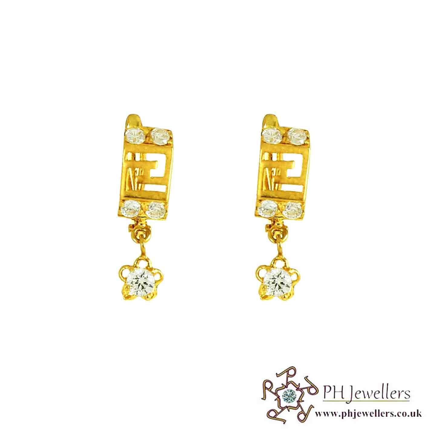 22ct 916 Hallmark Yellow Gold Clip On-Dangle Earring CZ CE31
