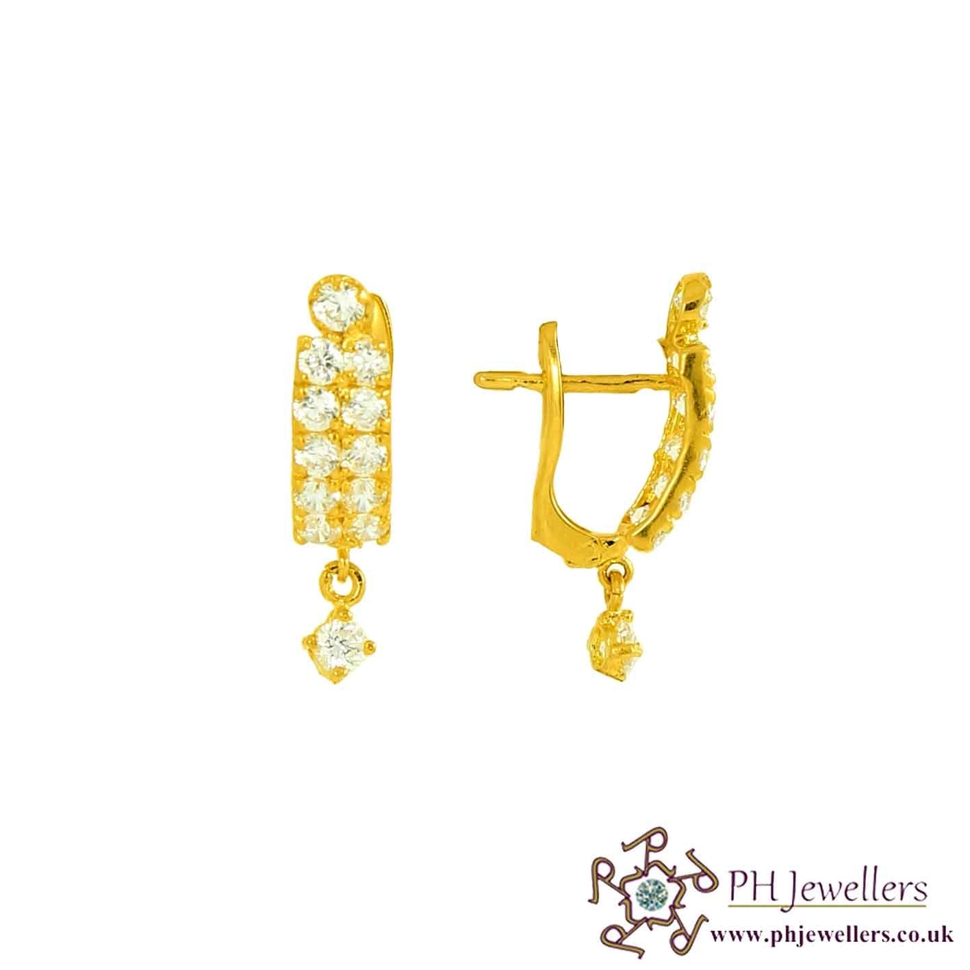 22ct 916 Hallmark Yellow Gold Clip-on Earring with CZ CE32