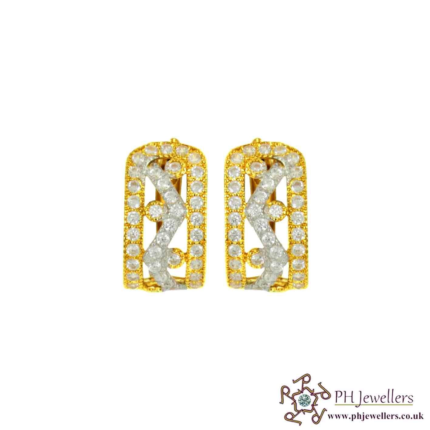 22ct 916 Hallmark Yellow Gold Clip-on Rhodium Earring CZ CE33