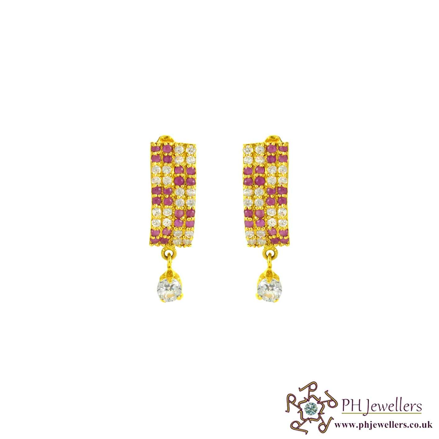 22ct 916 Hallmark Yellow Gold Clip-on Ruby White CZ Earring CE34
