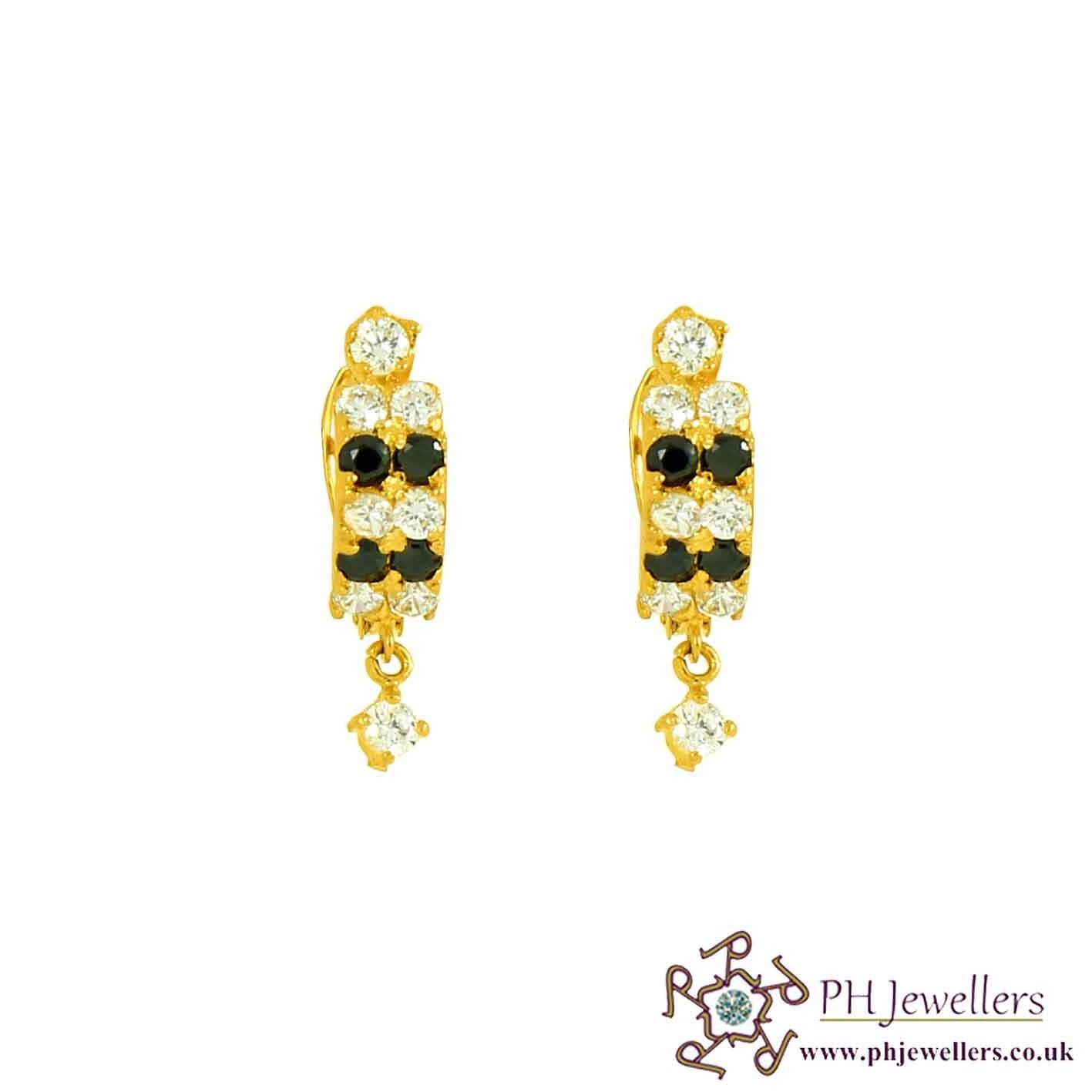 22ct 916 Hallmark Yellow Gold Clip-on Earring with Black white CZ CE37