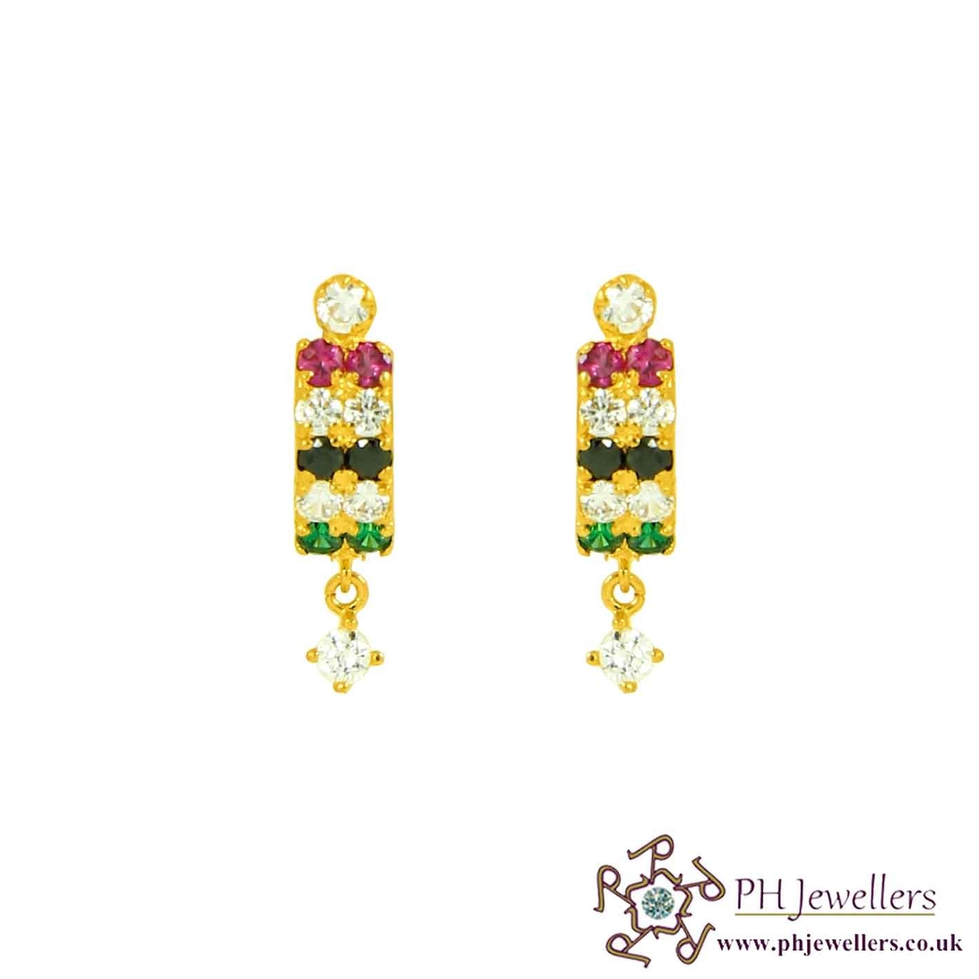 22ct 916 Hallmark Yellow Gold Clip-on Earring with Multi Colour CZ CE38