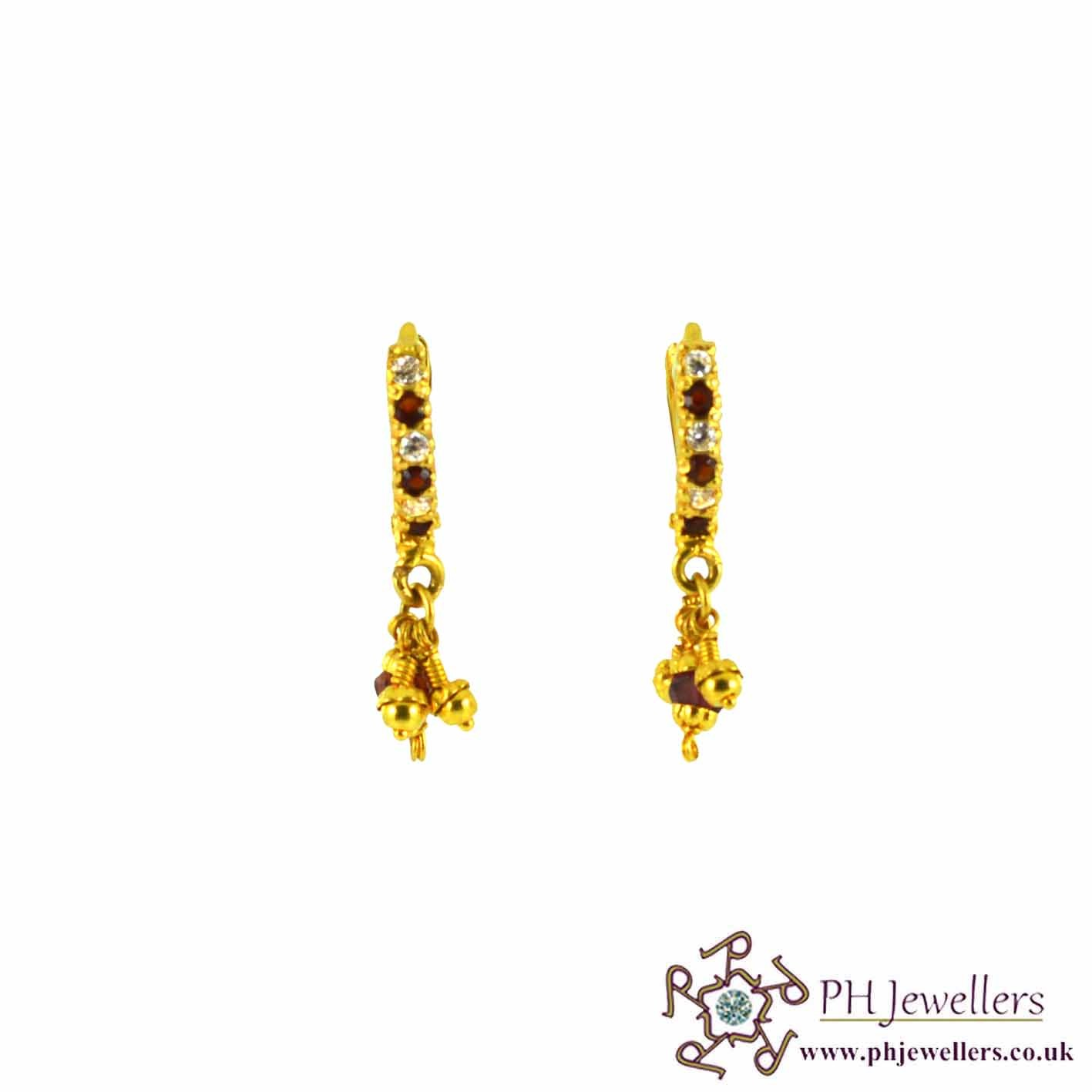 22ct 916 Hallmark Yellow Gold Clip On Garnet & White Earring CZ CE6