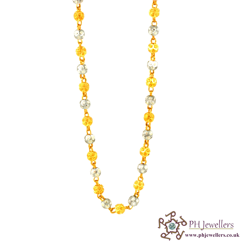 22ct 916 Hallmark Yellow Gold Long Rhodium Chain CL1