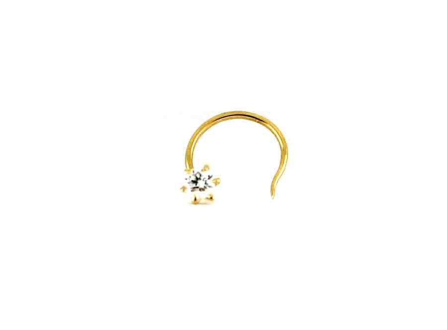 18ct 750 Round 0.07ct Diamond Wire Nose Stud DNS1