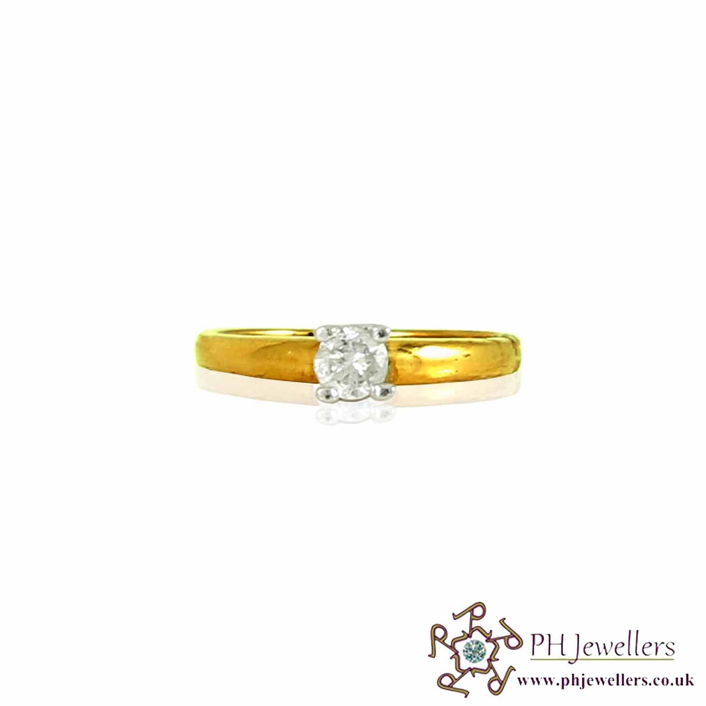 18CT 750 Yellow Gold Engagement Diamond Size M Ring DR15