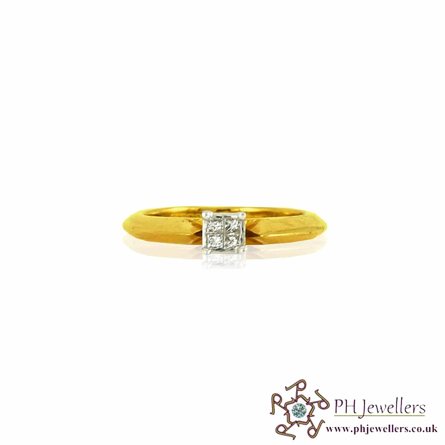 18CT 750 Yellow Gold Engagement Diamond Size H Ring DR16