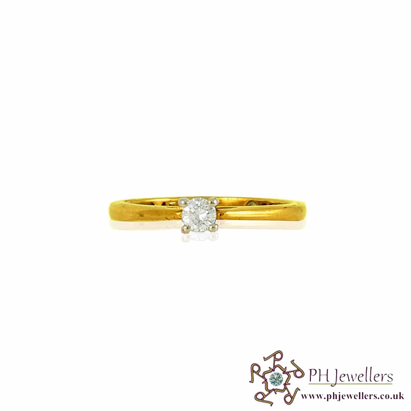 18CT 750 Yellow Gold Engagement Diamond Size L Ring DR17