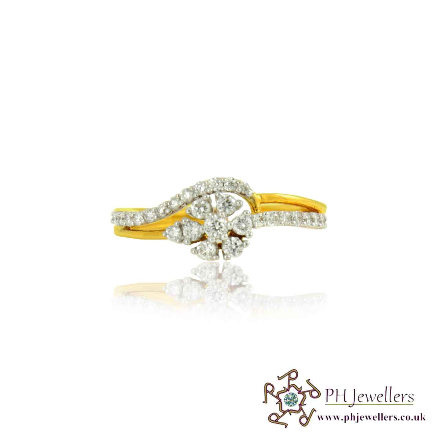 18CT 750 Hallmark Yellow Gold Diamond Size N Ring DR18