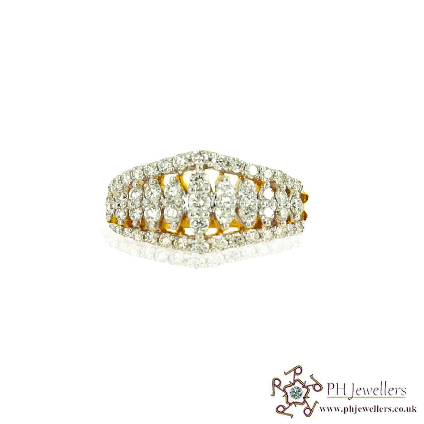 18CT 750 Hallmark Yellow Gold Diamond Size L Ring DR2