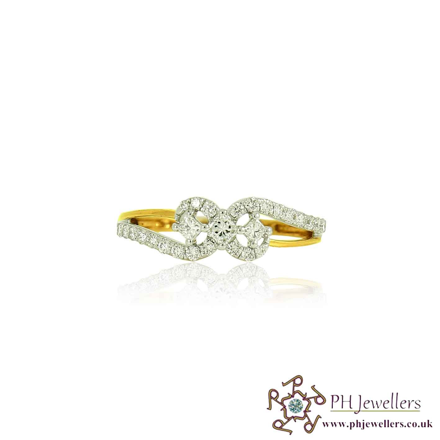 18CT 750  Yellow Gold Diamond Size L 1/2 Ring DR40