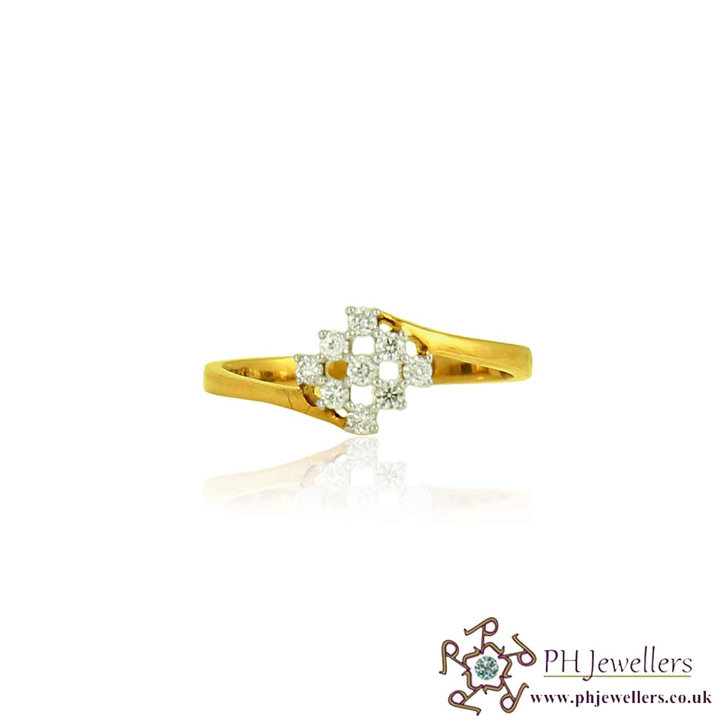 18CT 750  Yellow Gold Diamond Size J CLUSTER COCKTAIL Ring DR42