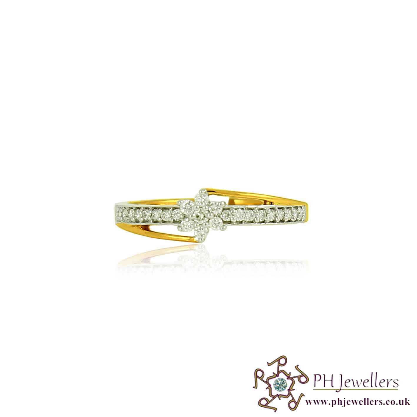 18CT 750  Yellow Gold Diamond Size N FLOWER Ring DR44