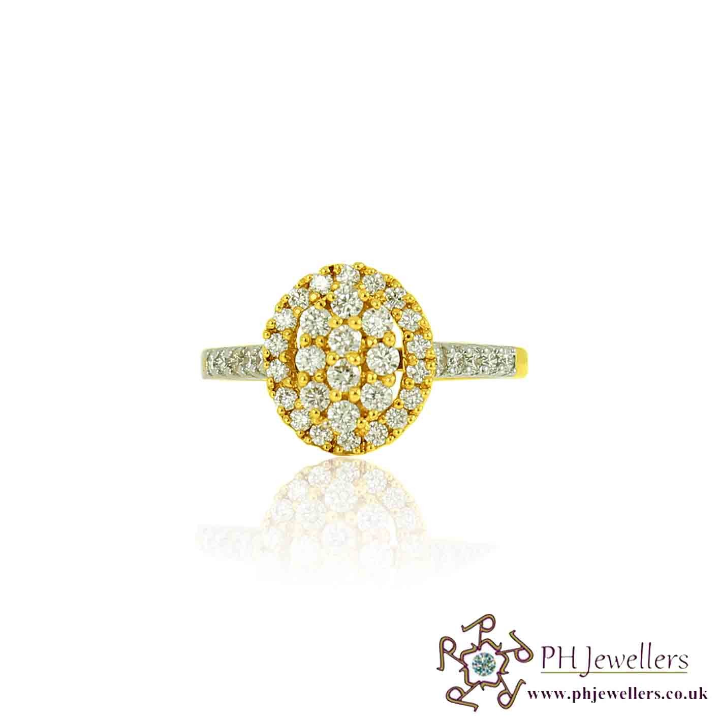18CT 750  Yellow Gold Diamond Size L OVAL CLUSTER Ring DR45