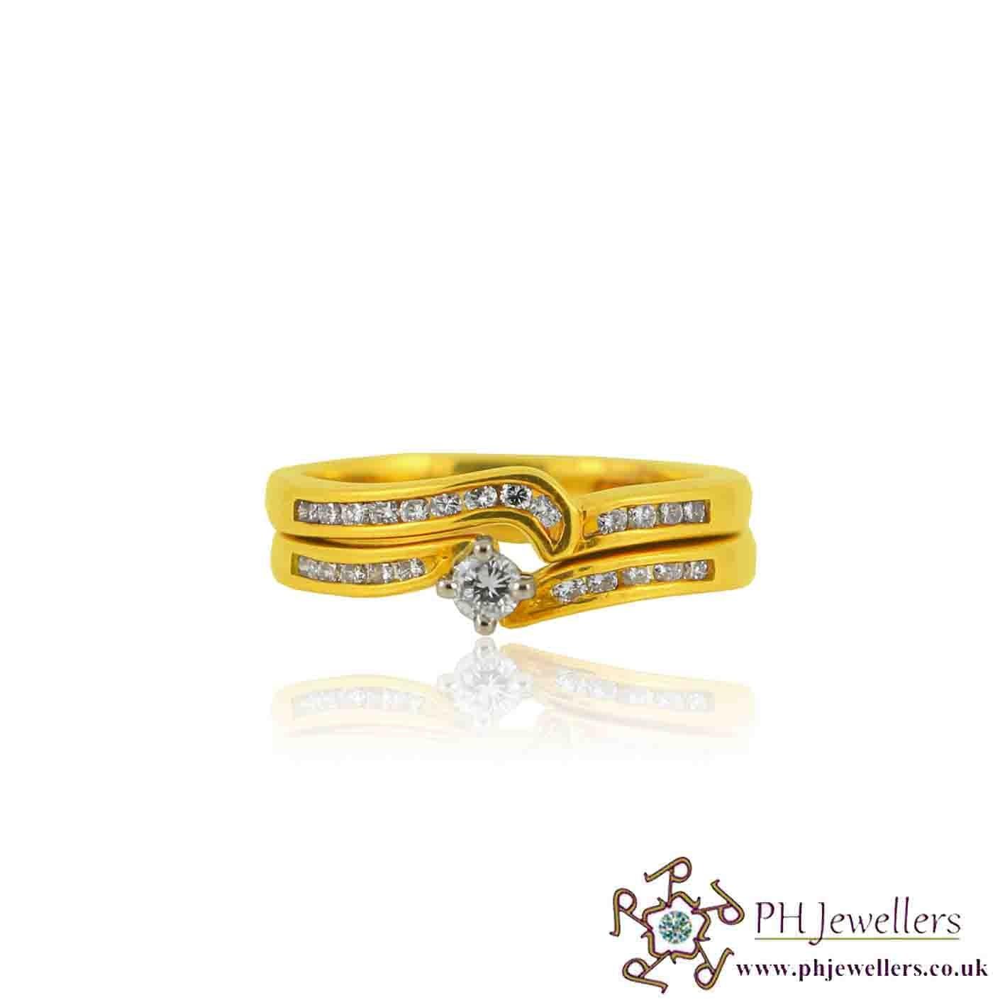 18ct 750 White Gold Hallmark Wedding Ring Set Diamond Ring  Size Q DWBS6