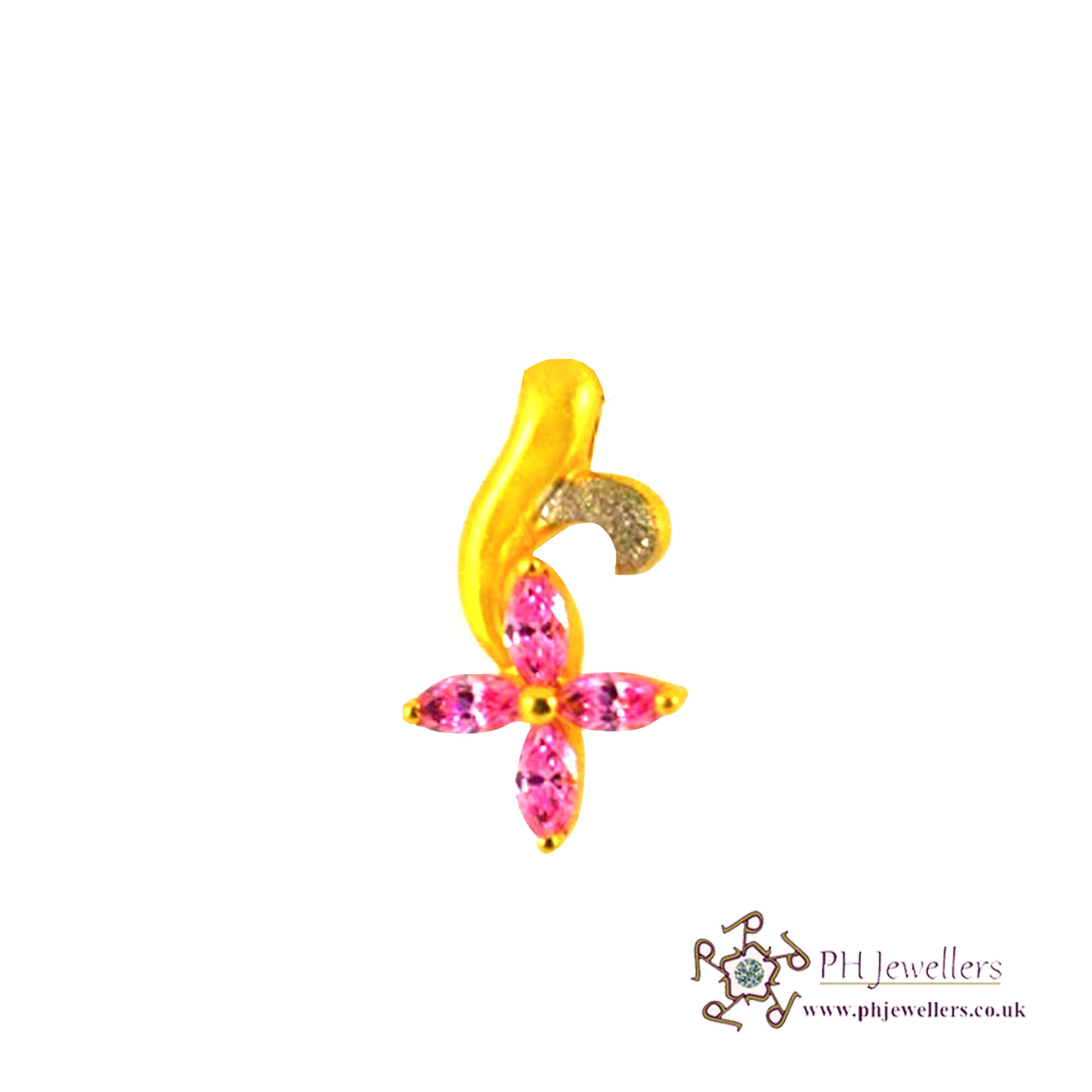 22ct 916 Hallmark Yellow Gold Flower Pink Rhodium Pendant CZ FP1