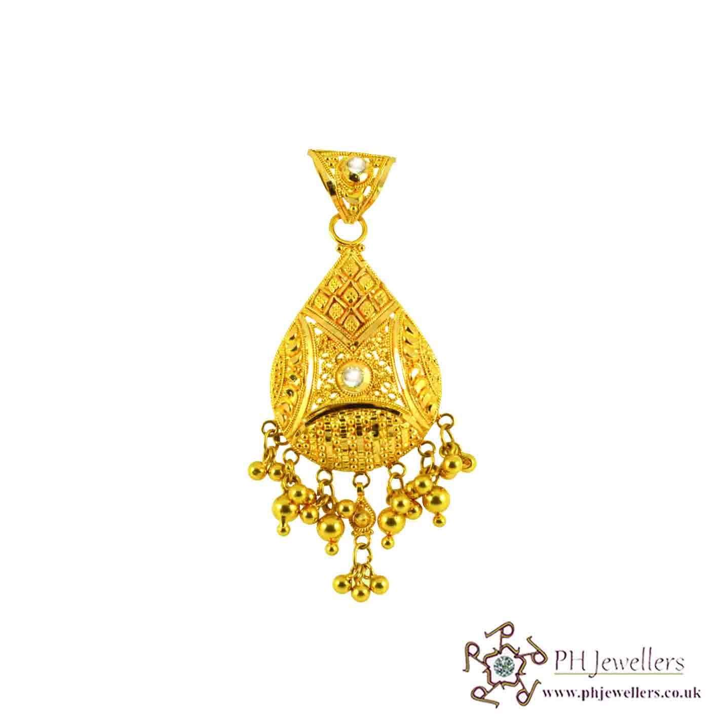 22ct 916 Hallmark Yellow Gold Tear Drop Pendant CZ FP11