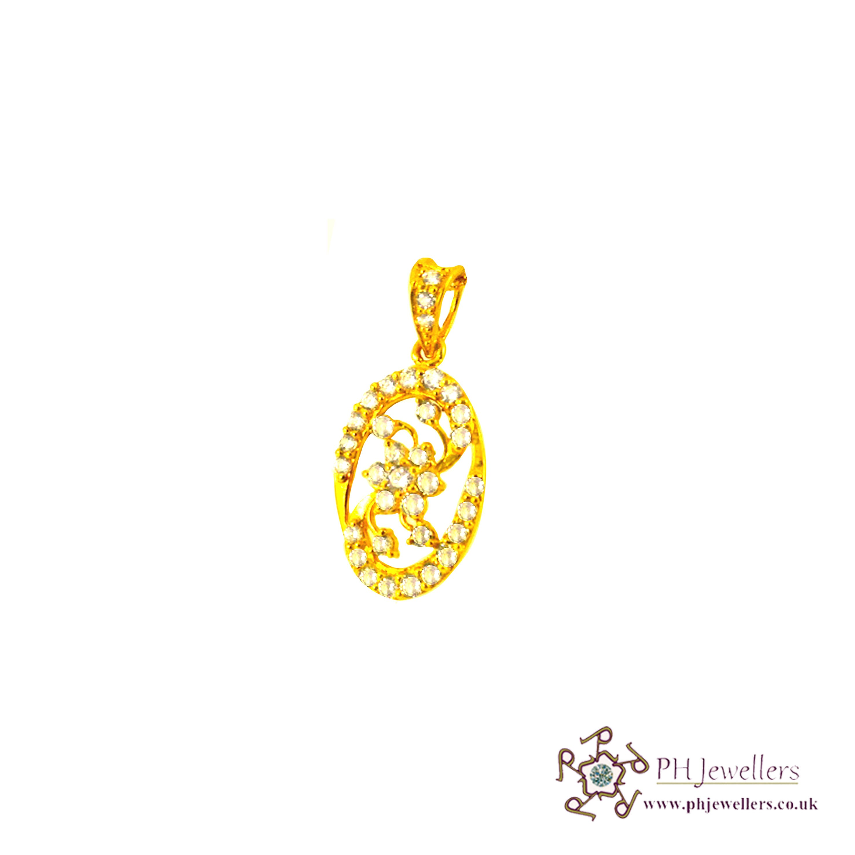 22ct 916 Hallmark Yellow Gold Oval Pendant CZ FP2