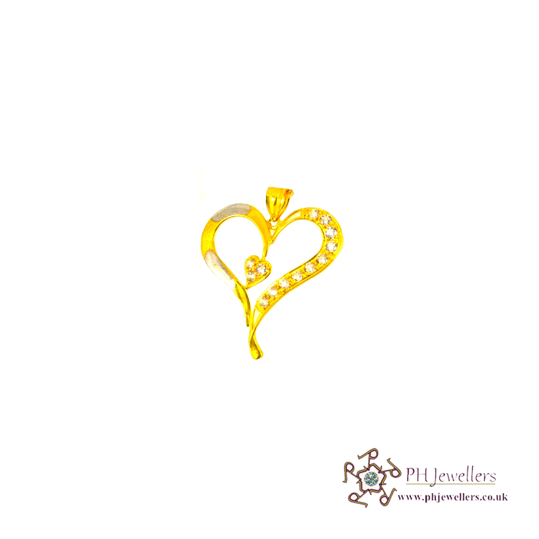 22ct 916 Hallmark Yellow Gold Heart Rhodium Pendant CZ FP3