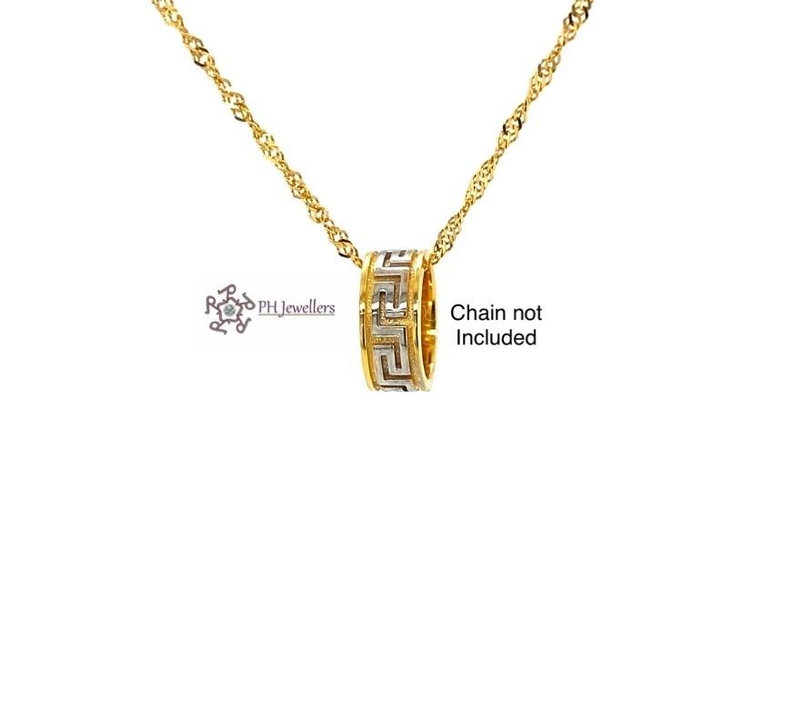 22ct 916 Hallmark Yellow Gold Solid Slider with Rhodium Pendant FP34