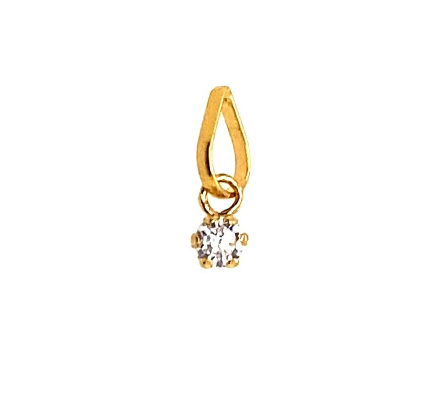 22ct 916 Yellow Gold Single Stone Drop Pendant with CZ FP40