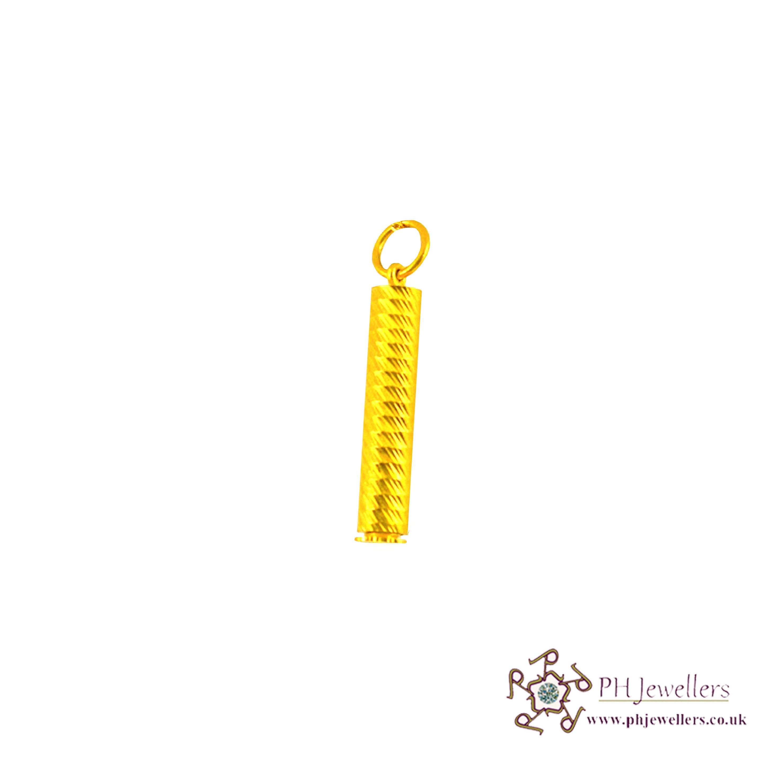 22ct 916 Hallmark Yellow Gold Taweez/Pipe Pendant FP6