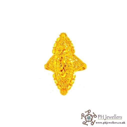 22CT 916 Hallmark Yellow Gold Size M1/2,N Ring CZ FR1