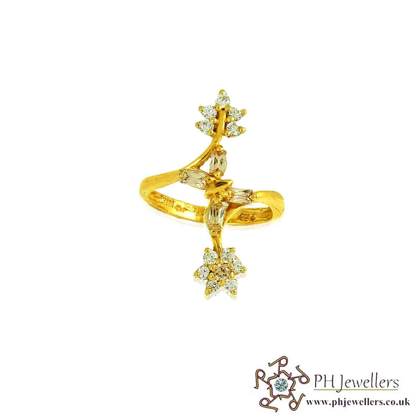 22ct 916 Hallmark Yellow Gold Long Flower Size M,N Ring CZ FR20