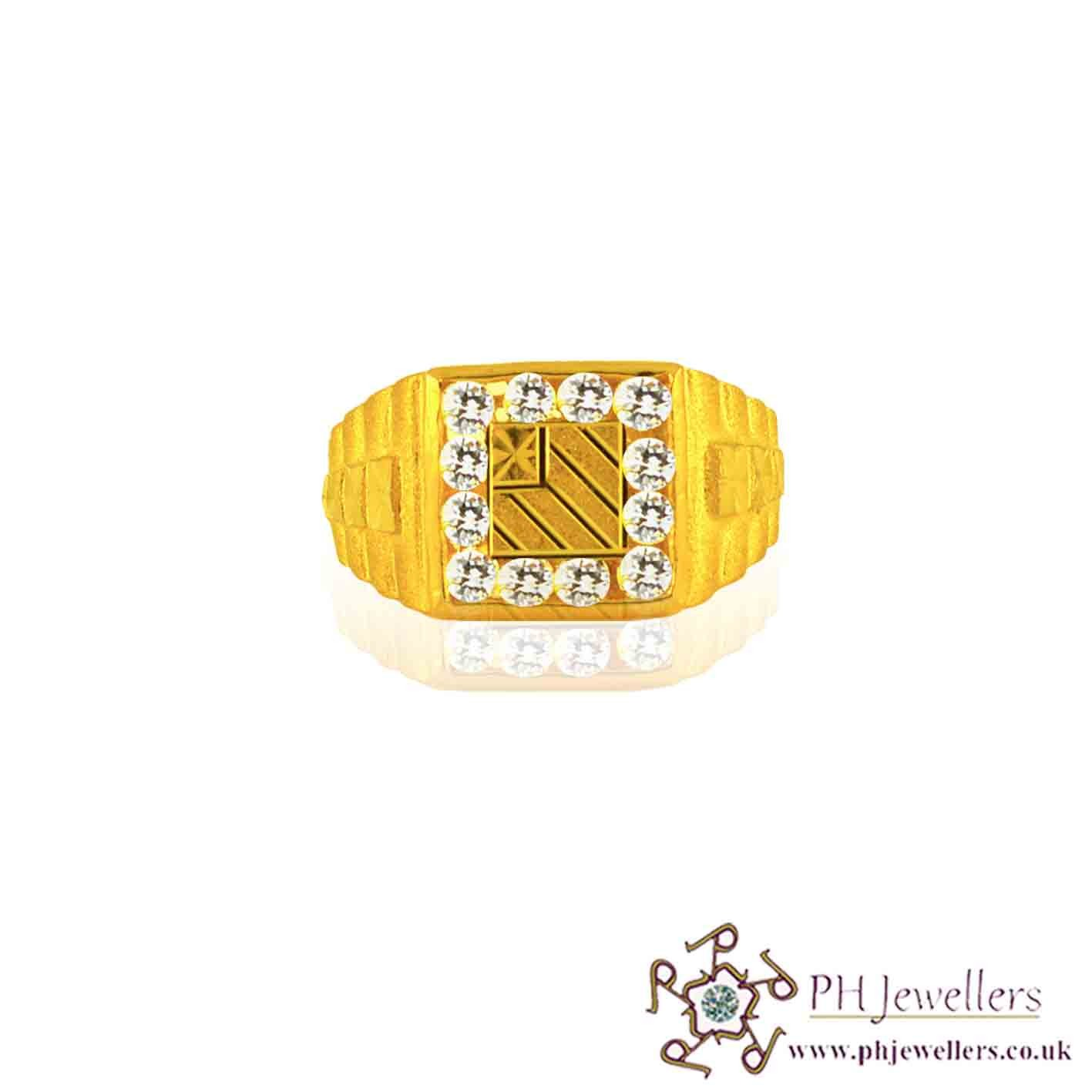 22ct 916 Hallmark Yellow Gold Square Size S,T Ring CZ GSR2