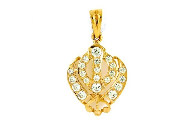 22ct 916 Hallmark Yellow Gold  Khanda Pendant with CZ Stones RP66