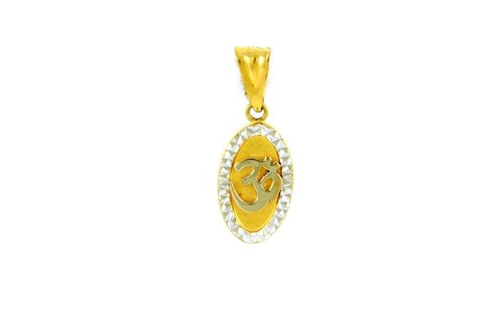22ct 916 Hallmark Yellow Gold Om Oval Pendant with Rhodium  RP70