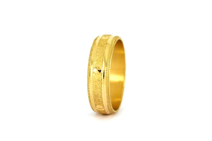 22CT 916 YELLOW GOLD HALLMARK WEDDING RING SIZE S 1/2  WB31