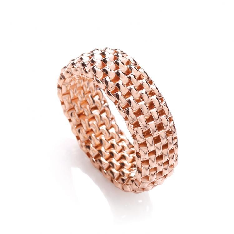 925 Sterling Silver Rose Gold Plated Stretchable Ring