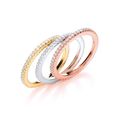 925 Sterling Silver Rose Gold, Rhodium and Gold Plated Set of Three Rings